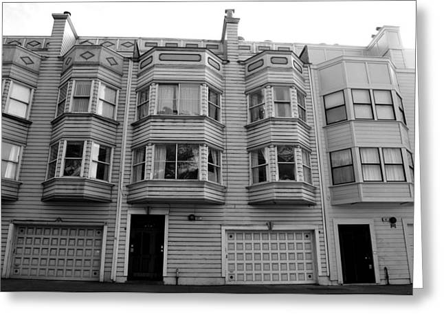San Francisco Row Homes - Black And White Greeting Card by Matt Harang
