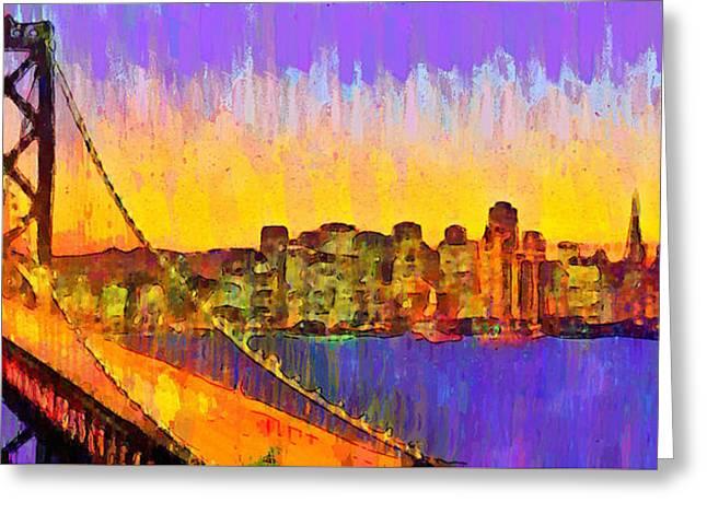 San Francisco Skyline 50 - Pa Greeting Card by Leonardo Digenio