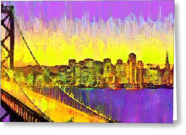 San Francisco Skyline 53 - Da Greeting Card by Leonardo Digenio