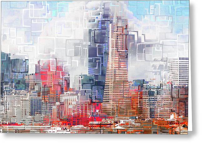 San Francisco Skyline Eos 5d29399 V1 Square Greeting Card by Wingsdomain Art and Photography