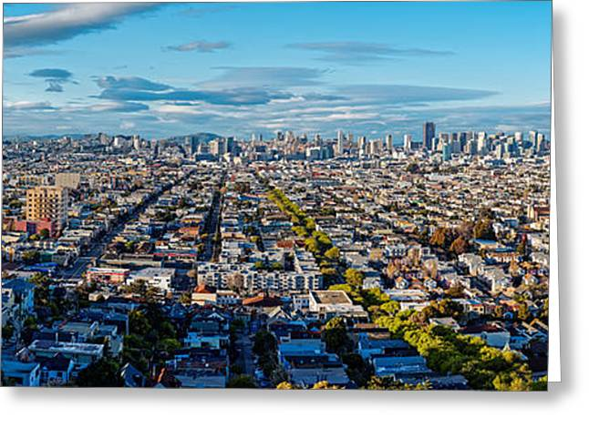 San Francisco Skyline From Bernal Heights Park At Sunset - San Francisco California Greeting Card by Silvio Ligutti