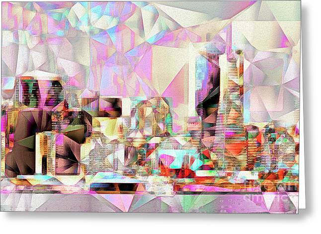 Greeting Card featuring the photograph San Francisco Skyline In Abstract Cubism Eos 5d29399 20170326 by Wingsdomain Art and Photography