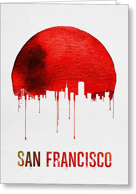 San Francisco Skyline Red Greeting Card by Naxart Studio