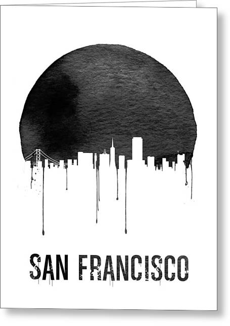San Francisco Skyline White Greeting Card by Naxart Studio