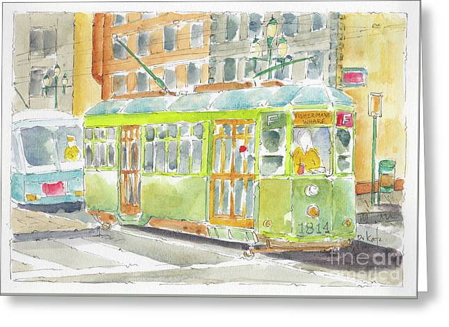Greeting Card featuring the painting San Francisco Streetcar by Pat Katz