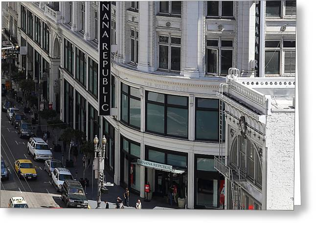 San Francisco Sutter Street East View 7d7509 Square Greeting Card by Wingsdomain Art and Photography