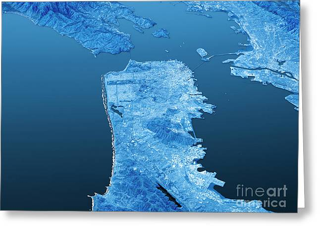 San Francisco Topographic Map 3d Landscape View Blue Color Greeting Card by Frank Ramspott