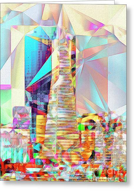 Greeting Card featuring the photograph San Francisco Transamerica Tower In Abstract Cubism 20170326 V2 by Wingsdomain Art and Photography