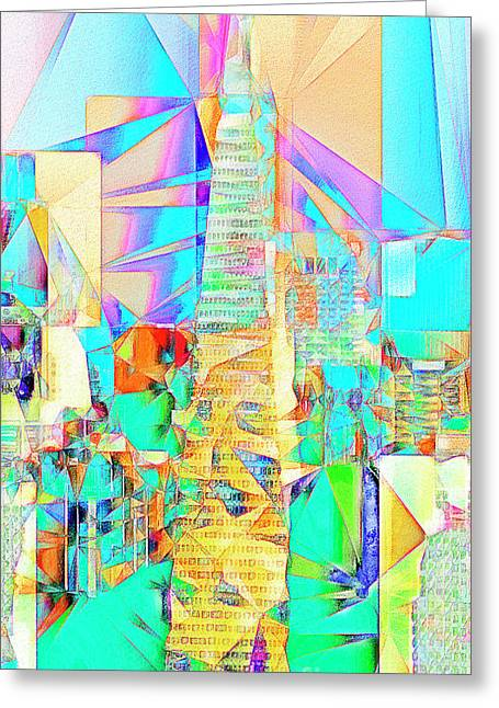 Greeting Card featuring the photograph San Francisco Transamerica Tower In Abstract Cubism 20170326 by Wingsdomain Art and Photography
