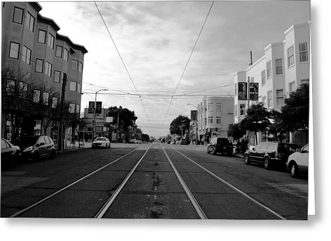 San Francisco - Trolley Line Street View Greeting Card by Matt Harang