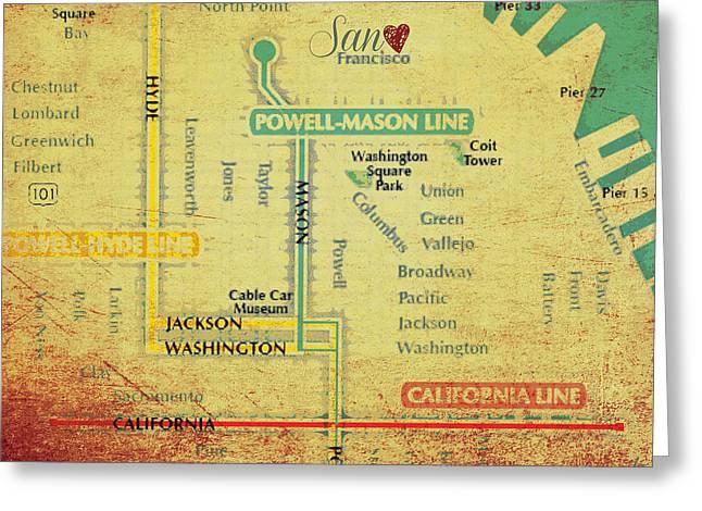 San Francisco Trolley Map Greeting Card by Brandi Fitzgerald