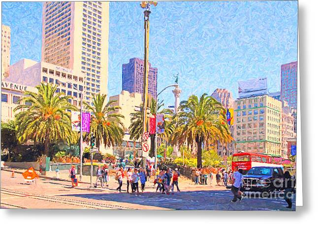 Macys Greeting Cards - San Francisco Union Square Greeting Card by Wingsdomain Art and Photography