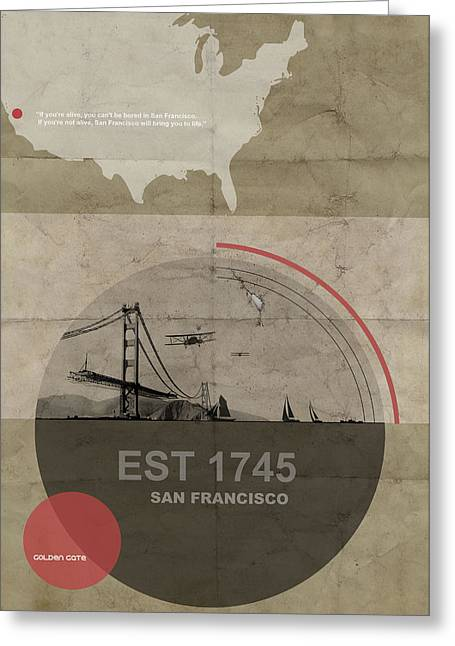 Golden Gate Greeting Cards - San Fransisco Greeting Card by Naxart Studio