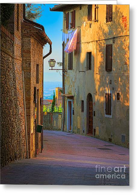 San Gimignano Alley Greeting Card by Inge Johnsson