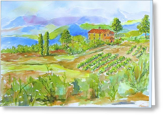Vineyard At San Gimignano Greeting Card