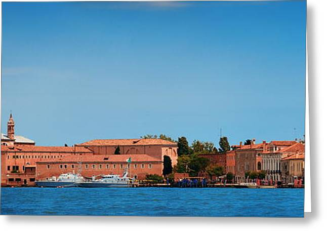 Greeting Card featuring the photograph San Giorgio Maggiore Church Panorama by Songquan Deng