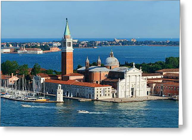 Greeting Card featuring the photograph San Giorgio Maggiore Island Panorama by Songquan Deng