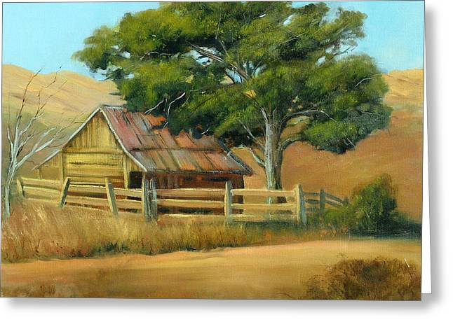 San Joaquin Barn Greeting Card by Sally Seago