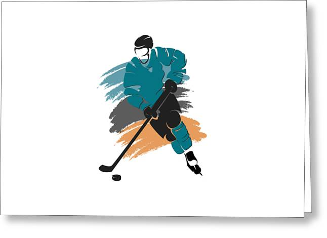 San Jose Sharks Player Shirt Greeting Card by Joe Hamilton