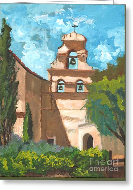 San Juan Bautista Mission Style Greeting Card by Alia Outrey