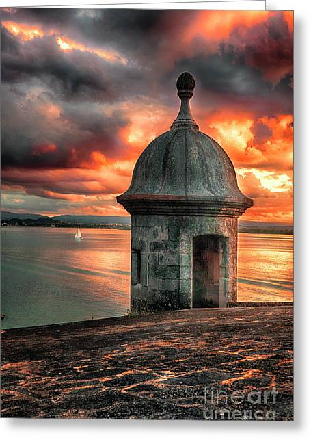 San Juan Bay Sunset With A Sentry Post Greeting Card by George Oze
