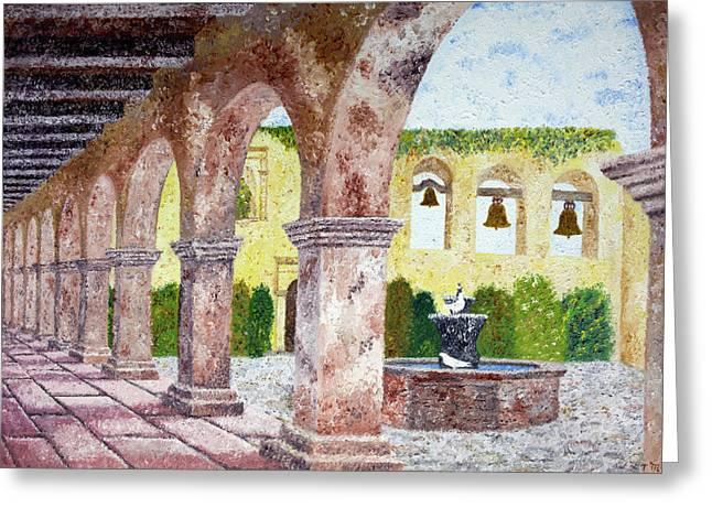 San Juan Capistrano Courtyard Greeting Card by Laura Iverson