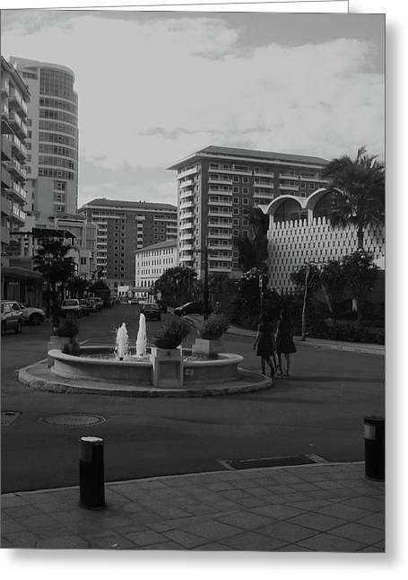 San Juan Fountain II Greeting Card by Anna Villarreal Garbis