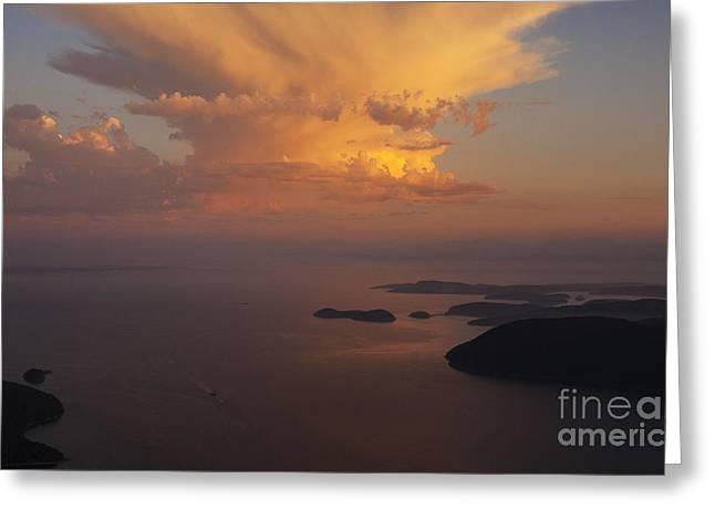 San Juan Islands Aerial Thunderstorm Greeting Card by Mike Reid