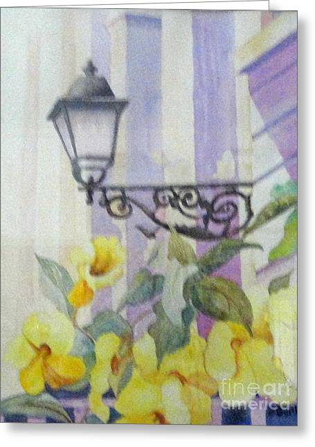 San Juan Lamp W Flowers Greeting Card