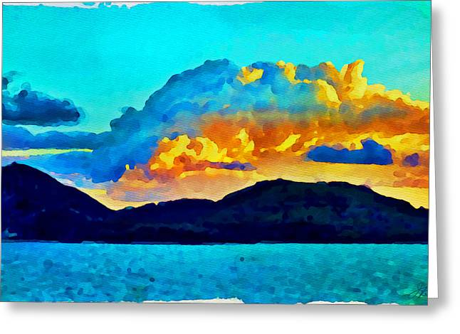 Greeting Card featuring the painting San Juan Seascape by Joan Reese