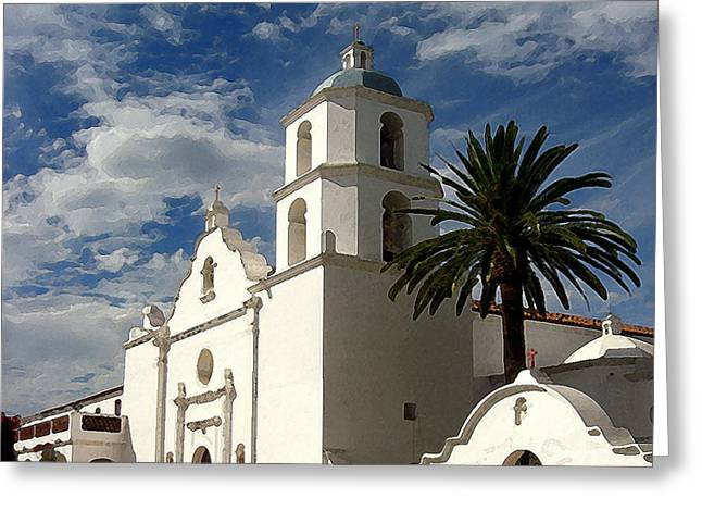 Greeting Card featuring the digital art San Luis Rey by Timothy Bulone