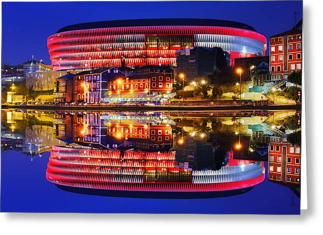 San Mames Stadium At Night With Water Reflections Greeting Card