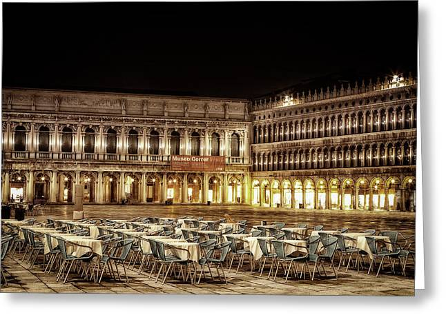 San Marco Cafes At Night Greeting Card
