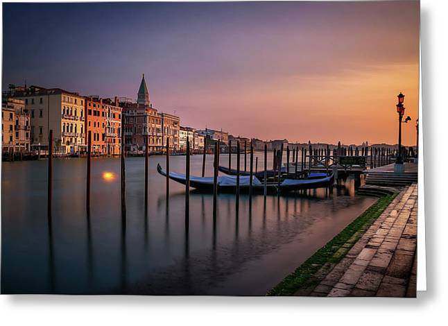 San Marco Campanile With Gondolas At Grand Canal During Calm Sunrise, Venice, Italy, Europe. Greeting Card