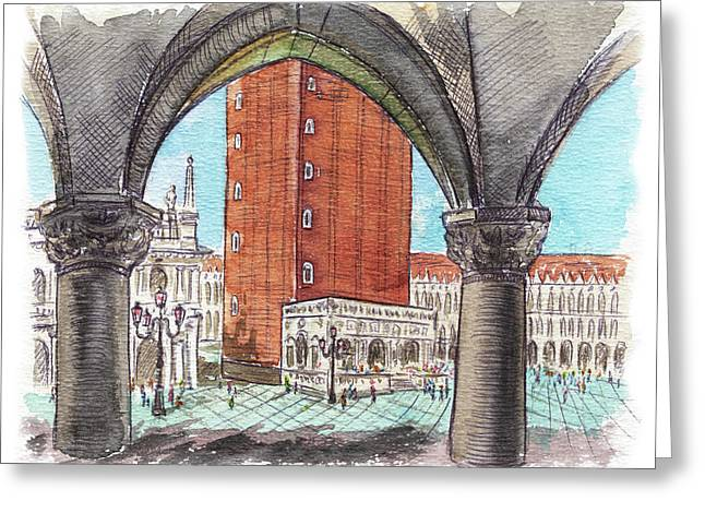 Greeting Card featuring the painting San Marcos Square Venice Italy by Irina Sztukowski