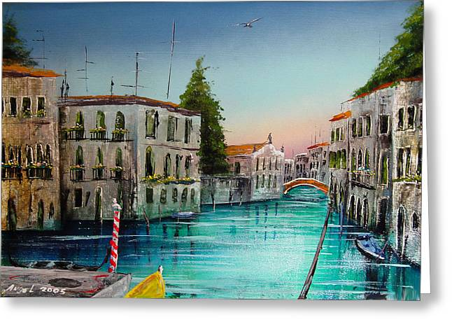 San Marcos Venice Greeting Card by Angel Ortiz