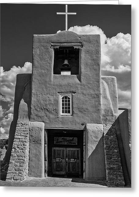 San Miguel Mission Black And White Greeting Card