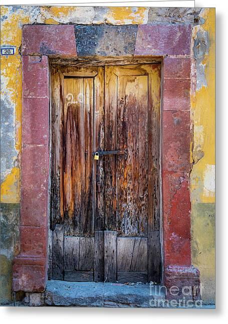 San Miguel Old Door Greeting Card by Inge Johnsson