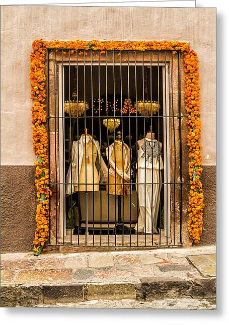 San Miguel Shop Window Greeting Card by Lindley Johnson