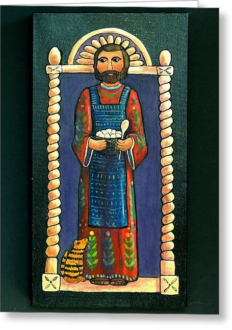 San Pascual Wood Carving Greeting Card by Candy Mayer