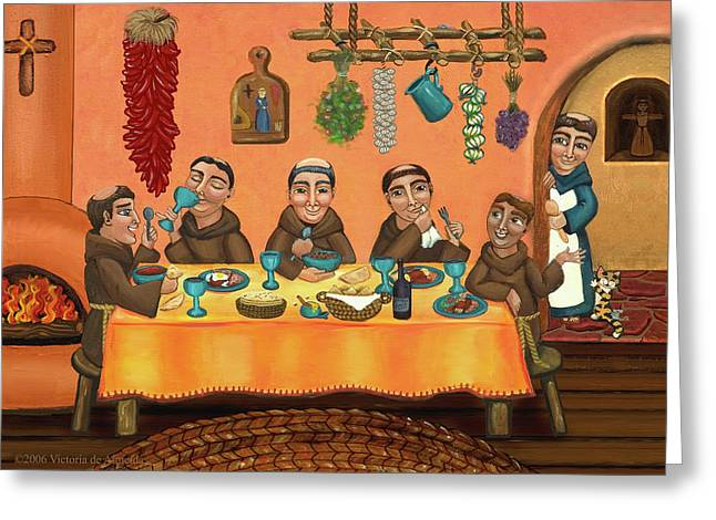 Retablos Greeting Cards - San Pascuals Table 2 Greeting Card by Victoria De Almeida