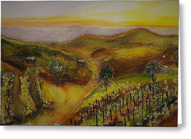San Pasqual Valley At Sunset Greeting Card by Karen Trout