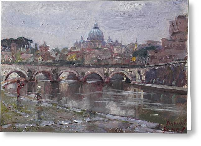 San Pietro In A Rainy Day Rome Greeting Card