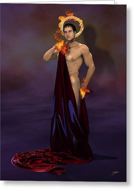 San Rescoldo, The Pyromaniac. Greeting Card by Joaquin Abella