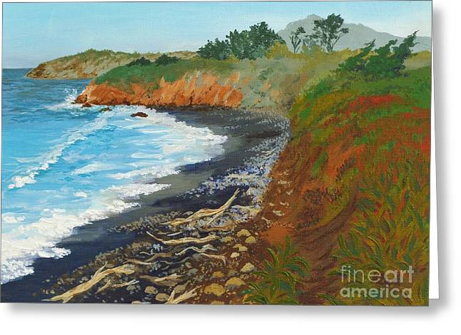 Greeting Card featuring the painting San Simeon Ca Coast by Katherine Young-Beck