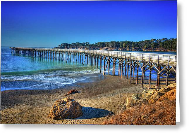 San Simeon Pier California Coast Greeting Card by James Hammond