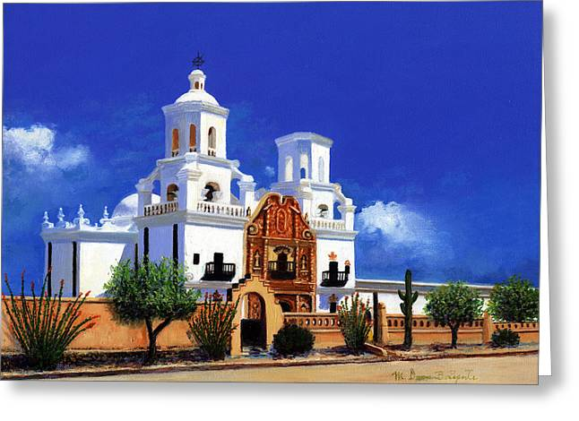 Greeting Card featuring the painting San Xavier Del Bac Mission by M Diane Bonaparte