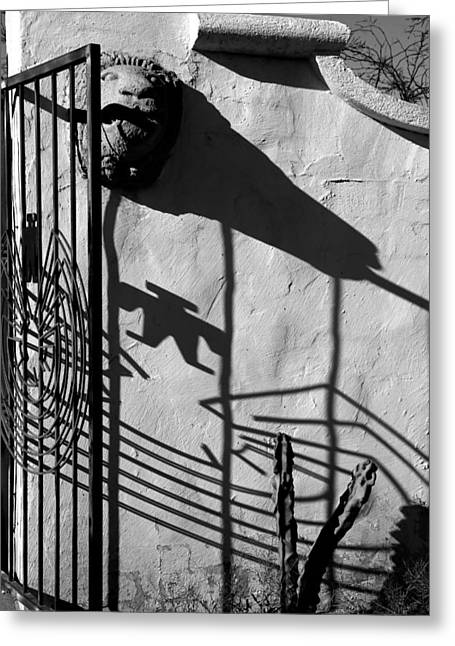 San Xavier Gate Shadow With Cactus 2 Bw Greeting Card by Mary Bedy