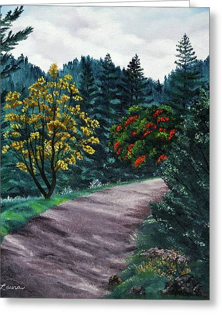 Sanborn Trail Greeting Card by Laura Iverson