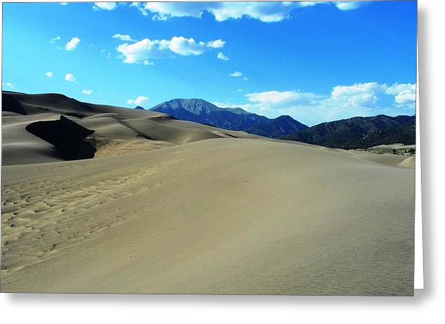 Sand And Mountains Greeting Card by Peter  McIntosh